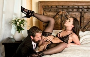 Hot brunette chick Gia Paige seduces her lover is sexy black lingerie