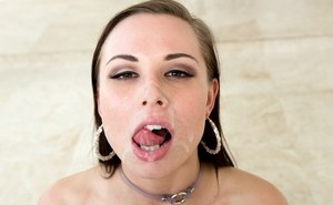 Hot white chick Aidra Fox licks her lips after sucking sperm from a penis