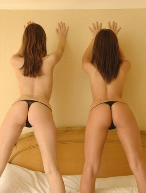 Amateur dyke Korina Bliss and her gf stack their thong laden asses