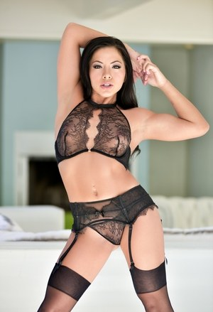 Asian model Morgan Lee squat in sheer nylons after removing sensual lingerie