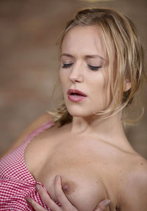 Hot blonde Aislin masturbates after couple of glassed of white wine