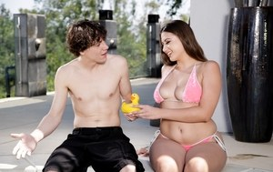 Curvy female Ivy Rose gives a blowjob to the teen boy next door