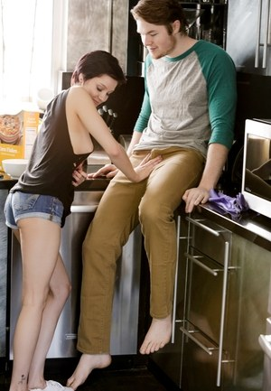 Irresistible Cadey Mercury gives her nerdy boyfriend a blowjob in the kitchen
