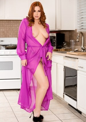 Hot housewife Edyn Blair blows off her cute stepson in the kitchen