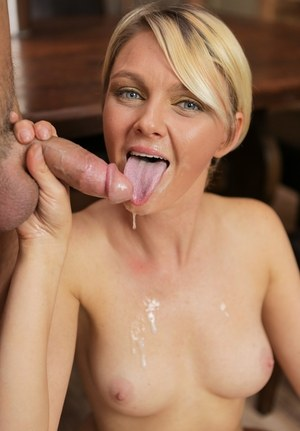 Short haired MILF Marie McCray sucks the jizz out of her stepson's cock