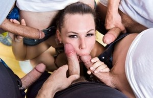 Naughty Aidra Fox trying out bukkake with a bunch of horny men