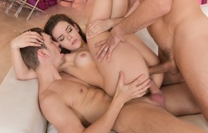 Naked Latina female Kimber Woods gets double fucked by her male lovers