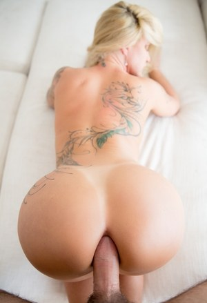 Tattooed blonde Ryan Conner sports a gaped anus during POV ass to mouth action