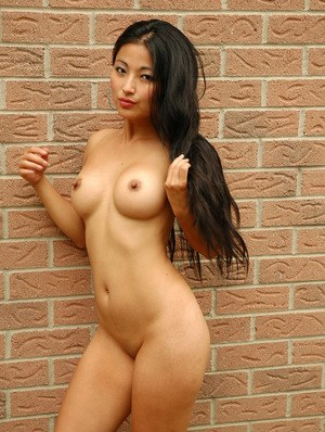 Asian amateur doll with sexy boobs Aria Lee undresses in public and poses nude