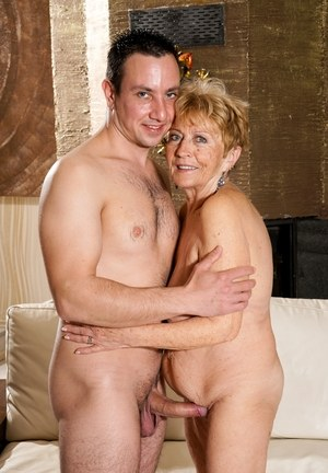 Horny granny Malya naked on her knees sucking for mouthful of young cum