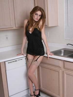 Sexy redhead Faye Reagan reveals her puffy nipples & toys on kitchen counter