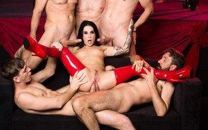 Tattooed slut Joanna Angel in latex boots receives DP in rough gangbang