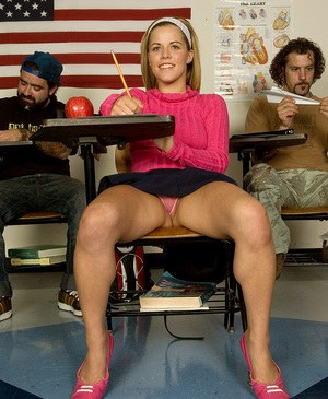 Schoolgirl Charlie Lynn catches her teachers attention with her bare legs