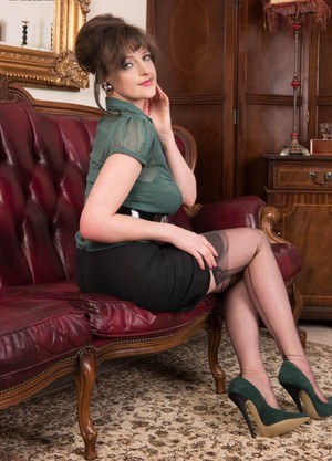 Gorgeous Kate Anne strips vintage sheer underwear to spread wide in stockings