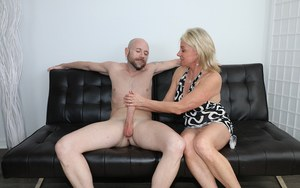 Sexy milf Payton jerking off fat dick