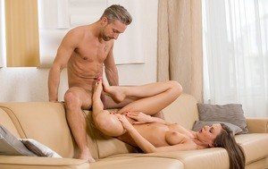 Sexy Tina Kay gives naked chef hubby a blowjob & cowgirl ride before dinner