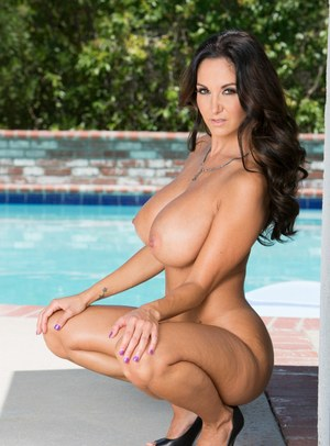 Hot MILF Ava Addams squats by the pool naked & chows down on huge big cock