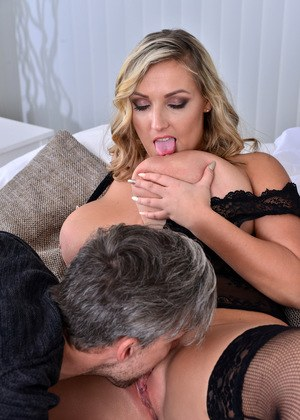 Big breasted MILF in stockings Crystal Swift knows how to please a stiff dick
