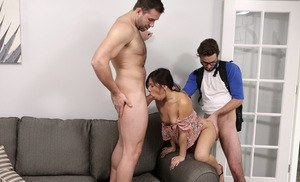 Hardcore slut Jasmine Gomez loses her shorts in rough threesome fucking