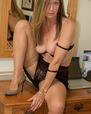Hot mature Satin Jayde flashes lace panty upskirt and peels for naked view