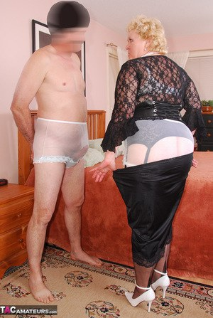 Overweight granny Fanny cleans a mans dick with her panties after a blowjob