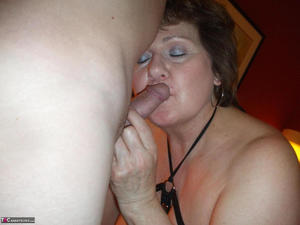 Plump older woman Bustybliss uncovers her large tits before a POV blowjob