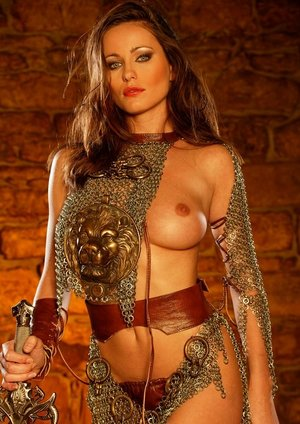 Solo model Kyla Cole releases her firm tits from her cosplay costume