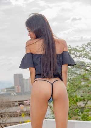 Slim solo girl Karin Torres strips and masturbates in a public place