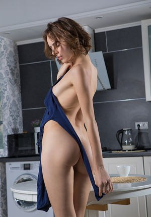 Hot beautiful Gracie spreads tiny ass in the kitchen & shows tiny naked pussy