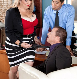 Fat secretary Dani Moore jerks on the cocks of 2 men that she works with