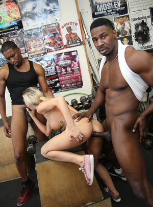 Cuckold blonde wife with superb tits having an interracial gangbang