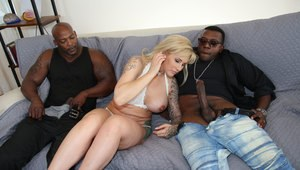 Busty tattooed blonde gets ass fucked and cum covered in interracial cuckold
