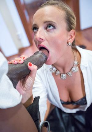 Blonde slut Victoria Pure rides big black cock cowgirl in stockings  jewels