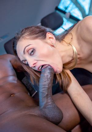 BBC lover Dominica Phoenix wraps her lips around huge black dick for mouthful