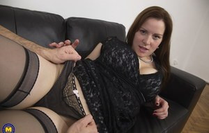 Attractive amateur mom with an amazing cleavage gets fingered in POV