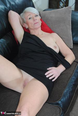 Sophisticated mature lady in black dress Shazzy B reveals sexy boobs  coochie
