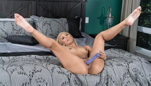 Hot blonde Demi Lopez flaunts sexy ass in black pantyhose before anal toying