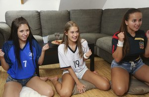 Sporty teen girls hit on friend's brother for raunchy groupsex doggystyle