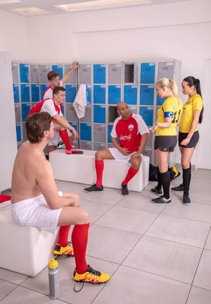 Team players Cayla Lions  Ana Rose reamed  creamed in locker room gangbang