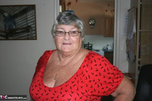 Obese nan Grandma Libby parts her shaved pussy after removing satin underwear