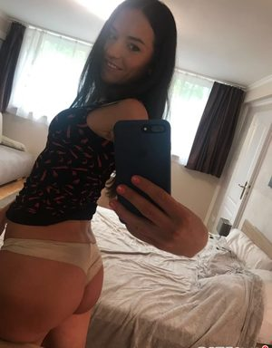 Stunning amateur Maria takes a self shot of her hot ass in sexy panties