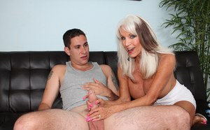 Big titted granny Sally D'Angelo sports a pearl necklace after fucking stepson