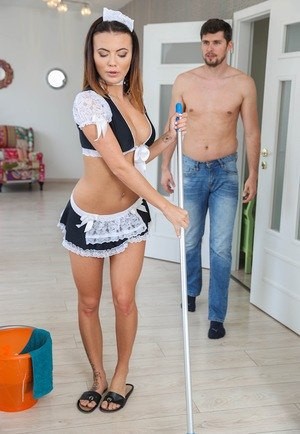 Beautiful maid Vanessa Decker catches the attention of employer in her outfit