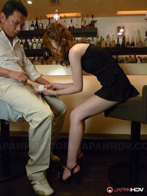 Lovely Japanese redhead Shiori Amano bends over and blows a nice dick