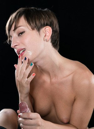 Short haired girl spits on a small cock while giving a blowjob & handjob combo