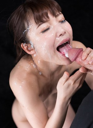 Asian cutie sucks hard big cocks  gets her petite naked body cum covered