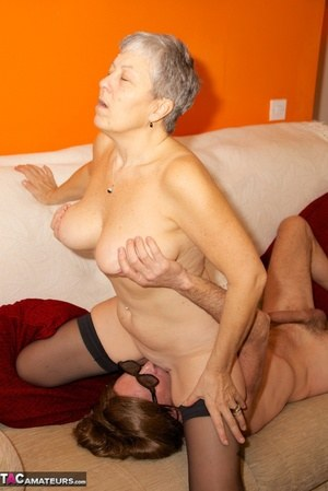 Horny granny Savana sucks younger lover  sits on his face for pussy licking
