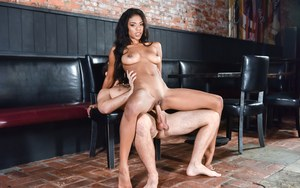 Ebony perfection Nia Nacci takes a pounding  cumshot in her pussy at the bar