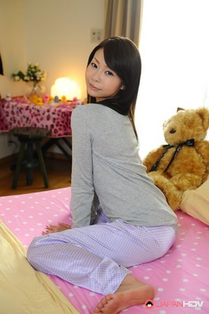 Petite Japanese girl Yuri Aine models totally naked and non nude as well
