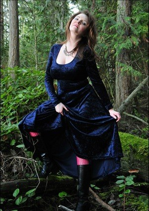 Older lady Tasty Trixie hikes up her long dress over hose covered ass in woods